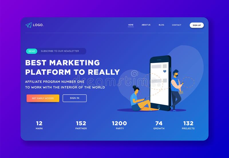 Creative website template landing page designs. Business apps, marketing, social media apps, time and project management.Social me. Creative website template stock illustration