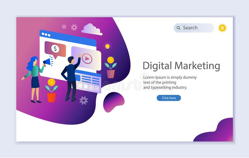 Creative website template of web page for digital marketing stock illustration