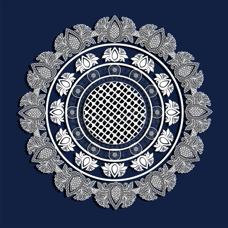 Creative white doily lace pattern on blue background.. vector illustration