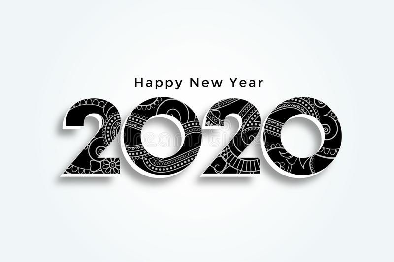 2020 creative white happy new year background design απεικόνιση αποθεμάτων