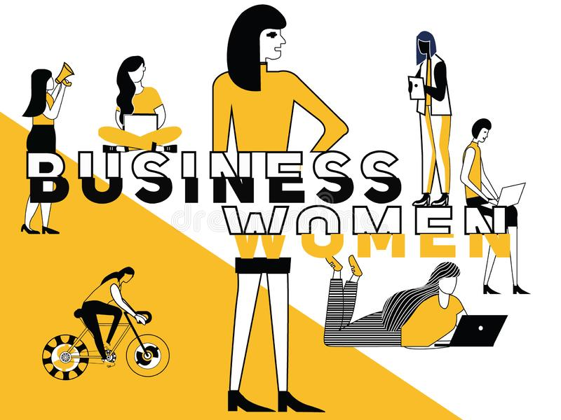 Creative Word concept Business Woman and People doing things. Vector Illustration of Creative Word concept Business woman and multiple woman doing things royalty free illustration