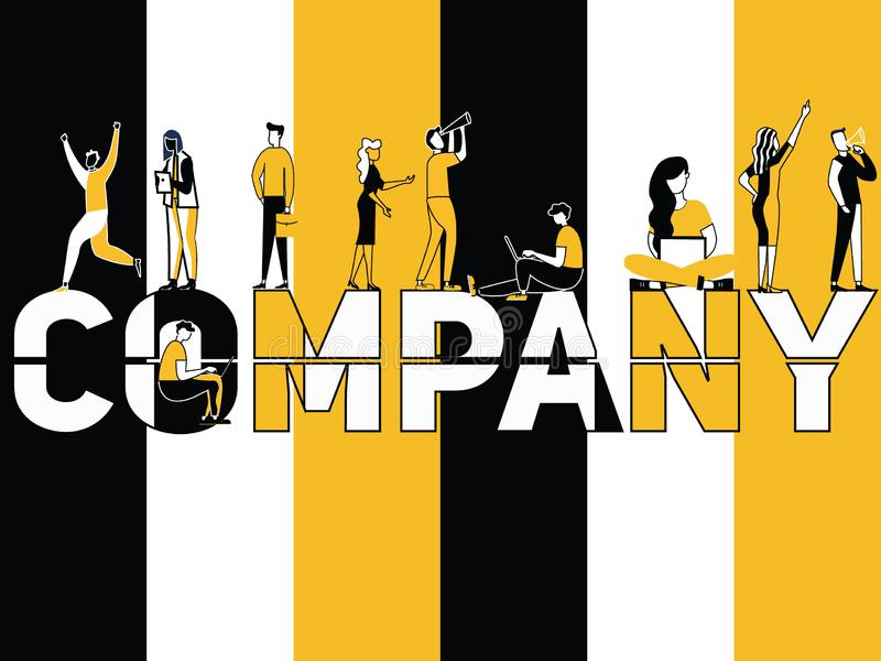 Creative Word concept Company and People doing things vector illustration