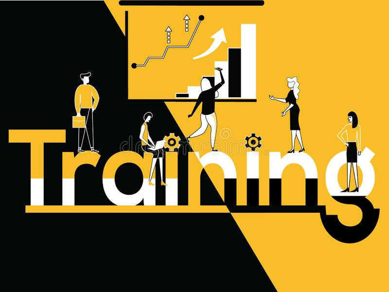 Creative Word concept Training and People doing multiple activities. Vector Illustration of Creative Word concept Training and People doing multiple activities stock illustration