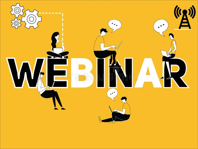 Creative word concept Webinar and people doing technology things. Vector Illustration of Creative word concept Webinar and people doing technology things with vector illustration