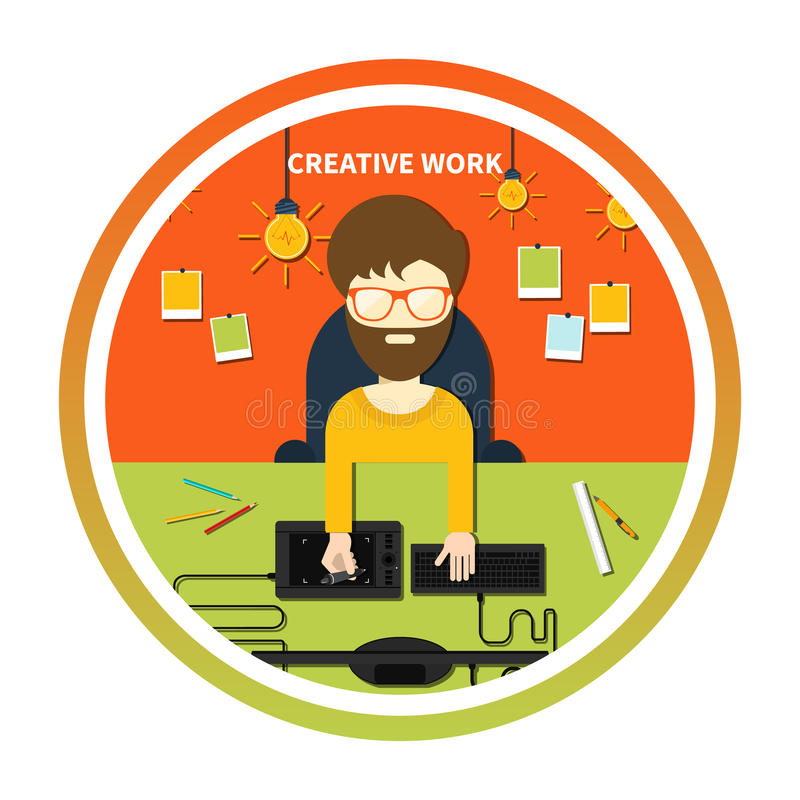 Creative work and designer tools concept. Concept for graphic design, creative work, designer tools and software in flat design with computer surrounded designer stock illustration