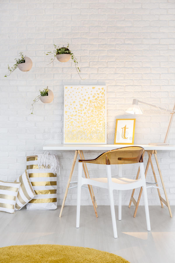 Creative working place. In modern white study room stock image