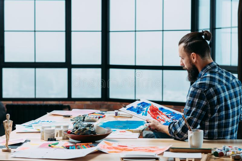 Creative working space loft studio young artist royalty free stock photos