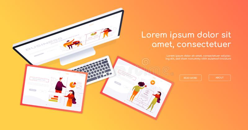Creative workplace - modern vector colorful web banner. On blue background. A composition with a top view of the computer, tablets. Scenes in isometry with stock illustration