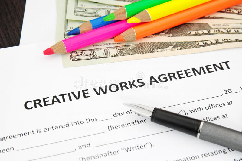 Download Creative Works Agreement stock image. Image of writing - 25175949