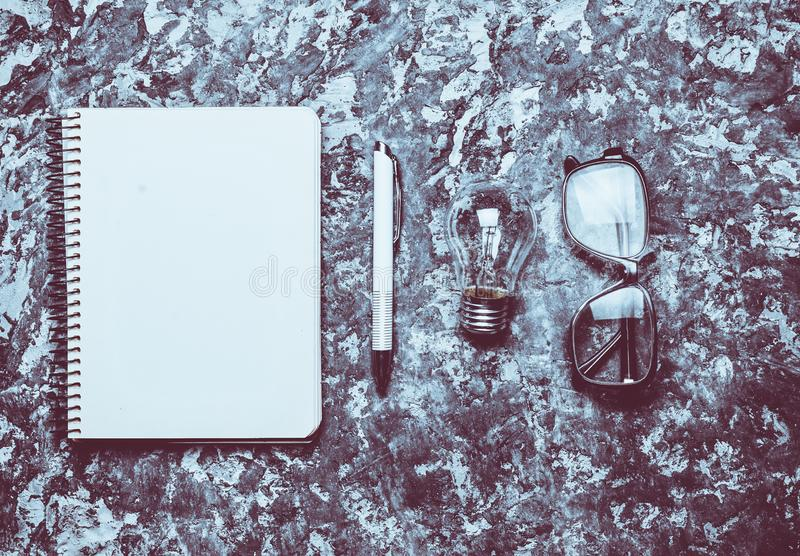 The creative workspace of the writer is inspiring to create. royalty free stock photos