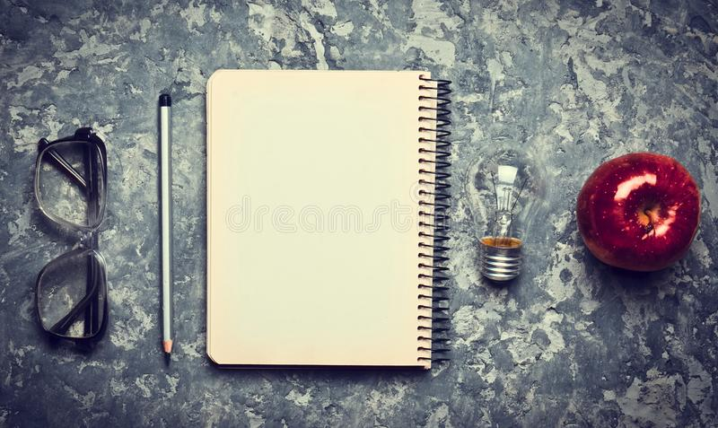 The creative workspace of the writer is inspiring to create. stock photo