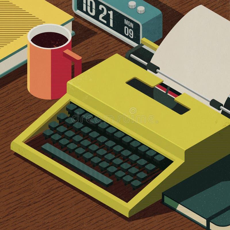 Creative writer desktop with vintage typewriter stock image