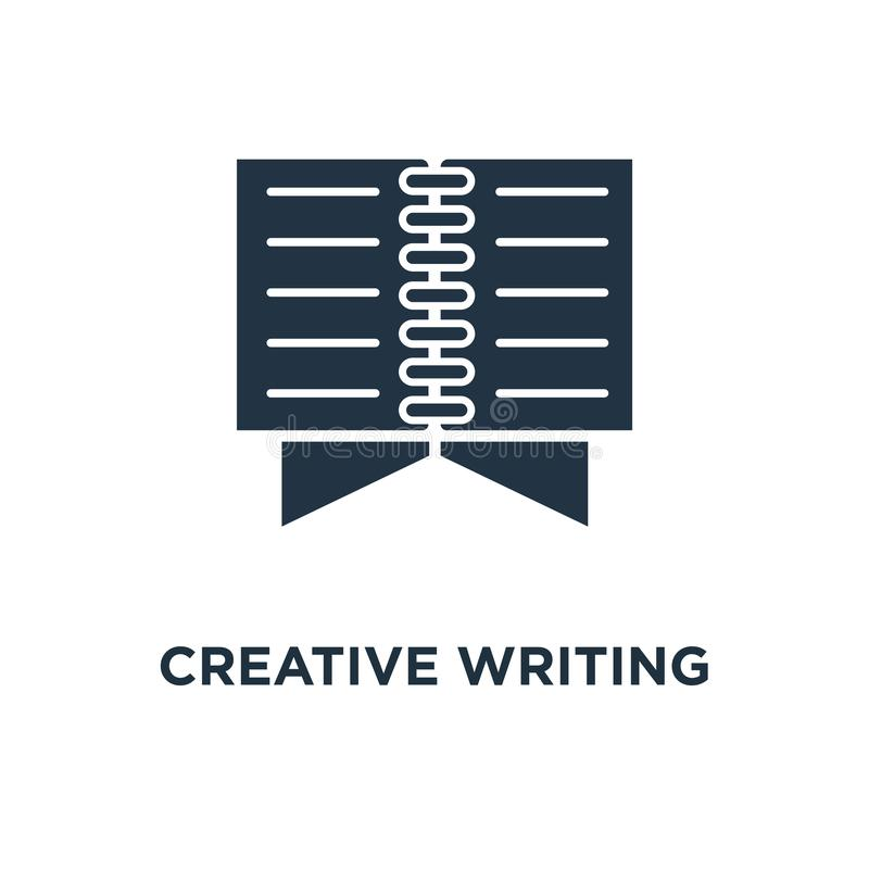 creative writing icon. open book, read brief summary, assignment, thin stroke concept symbol design, storytelling, text book, exam stock illustration