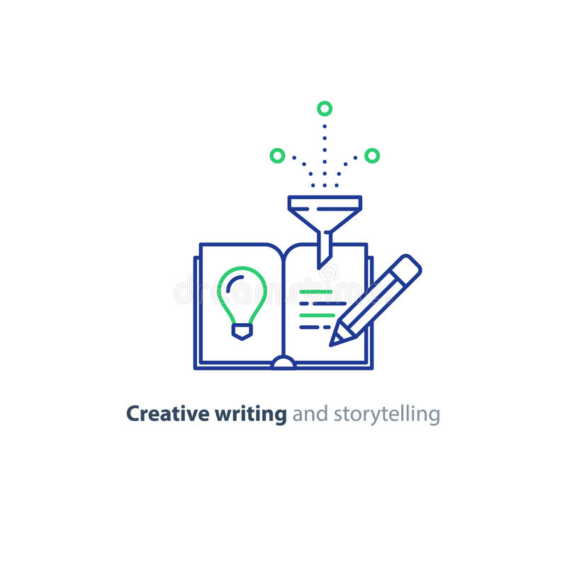 Creative writing, story telling idea, book page and pencil linear icons. Creative writing concept, storytelling, content management, assay composition, education stock illustration