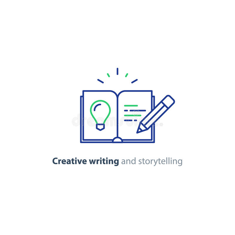 Creative writing, story telling idea, book page and pencil linear icons. Creative writing concept, storytelling, content management, assay composition, education royalty free illustration