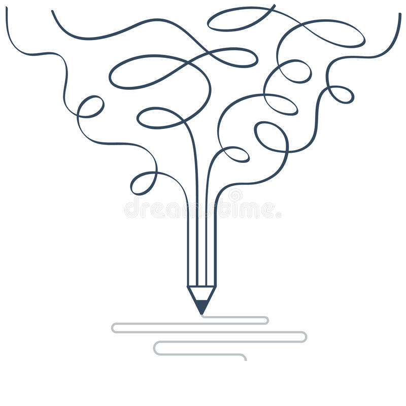 Creative writing, storytelling, graphic design studio symbol. Writing skills, creative imagination. Story telling and narration. Linear design vector royalty free illustration