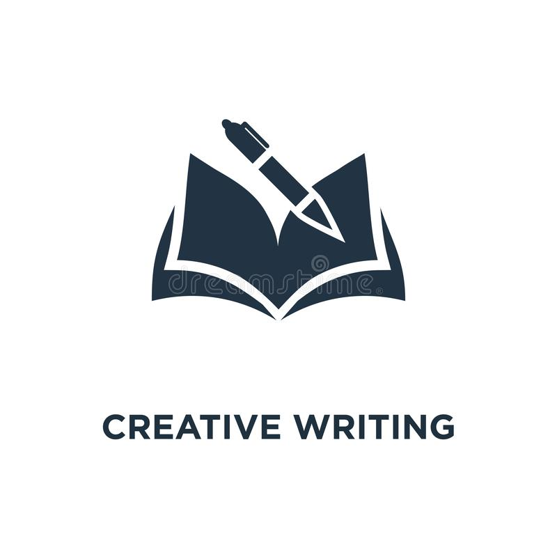 Creative writing and storytelling icon. education concept symbol design, opened book, school study, learning subject, book review. Summary vector illustration royalty free illustration