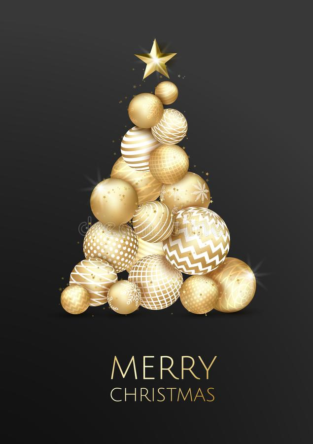 Creative Xmas tree made by shiny golden balls on black background for Christmas and New Year celebration. stock illustration
