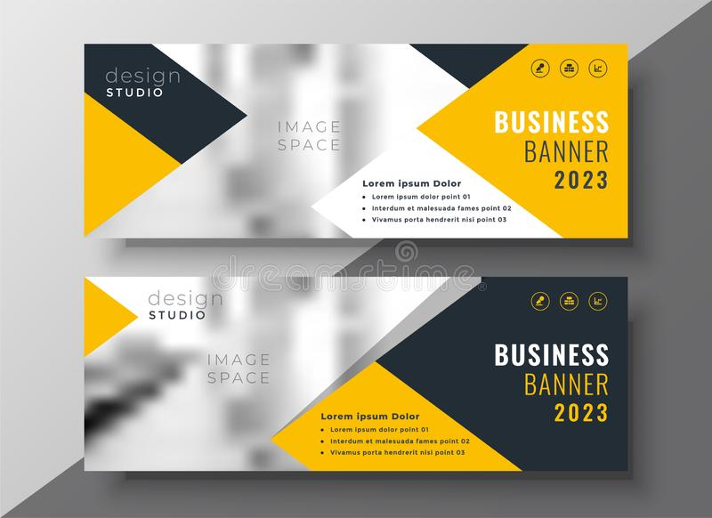 Creative yellow business banner template stock illustration