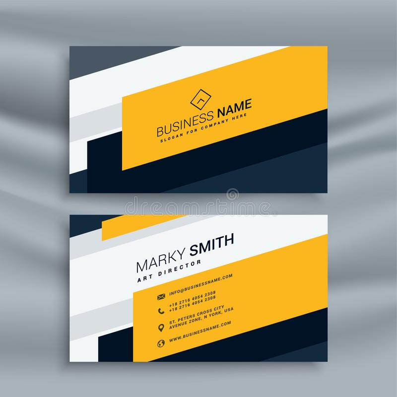 Creative yellow business card template stock illustration