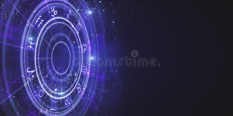 Creative zodiac wheel backdrop. Creative purple zodiac wheel backdrop. Cyberspace concept. 3D Rendering royalty free illustration