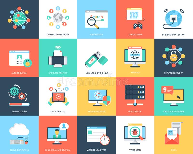 Flat Icons Internet Security And Technology vector illustration