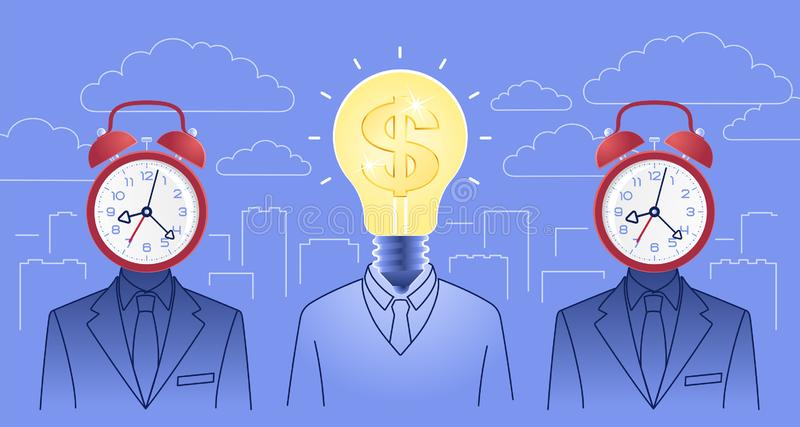 Creativeness In Business. Bizarre idea-manager in between of two figures of bizarre time-managers on background of cityscape. Vector illustration on the subject vector illustration