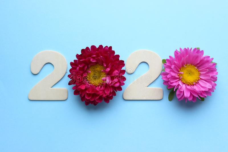2020 Creatividad, de un nuevo concepto por el año 2020 Figuras y flores de madera en un fondo coloreado imágenes de archivo libres de regalías