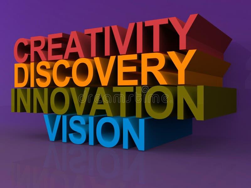 Creatividad, descubrimiento, innovación y visión stock de ilustración