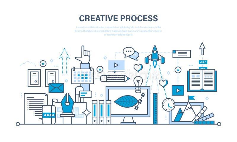 Creatividad, pensamiento creativo, planeando, proceso, puesta en práctica de ideas, imaginación ilustración del vector
