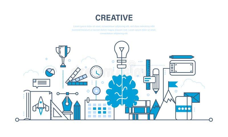 Creatividad, pensamiento creativo, planificación, creación y puesta en práctica de ideas, imaginación stock de ilustración