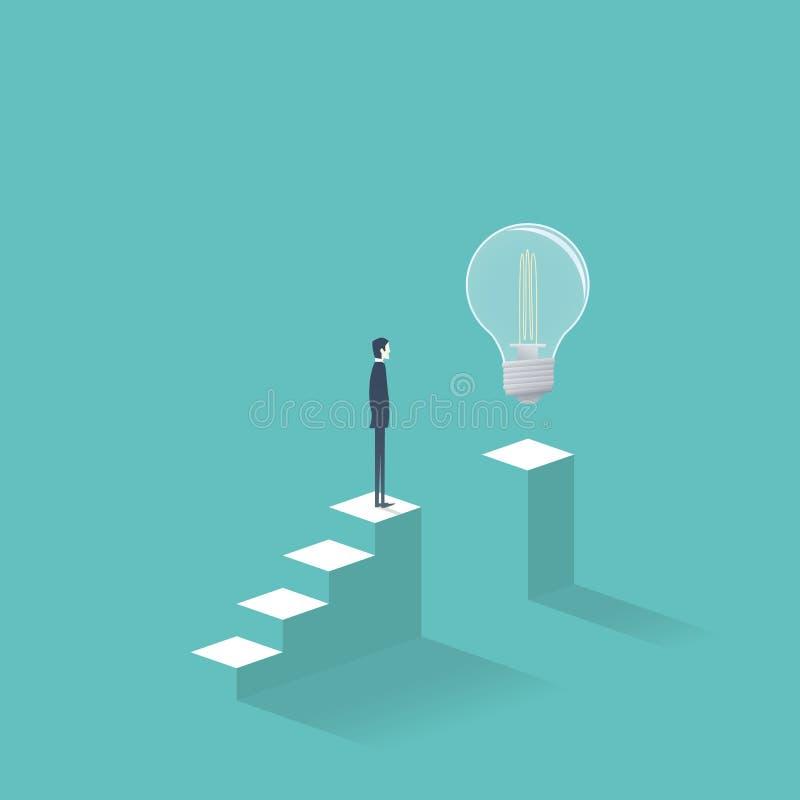 Creatività di affari e trovare concetto di vettore della soluzione con l'uomo d'affari che sta sui punti che provano ad ottenere  royalty illustrazione gratis