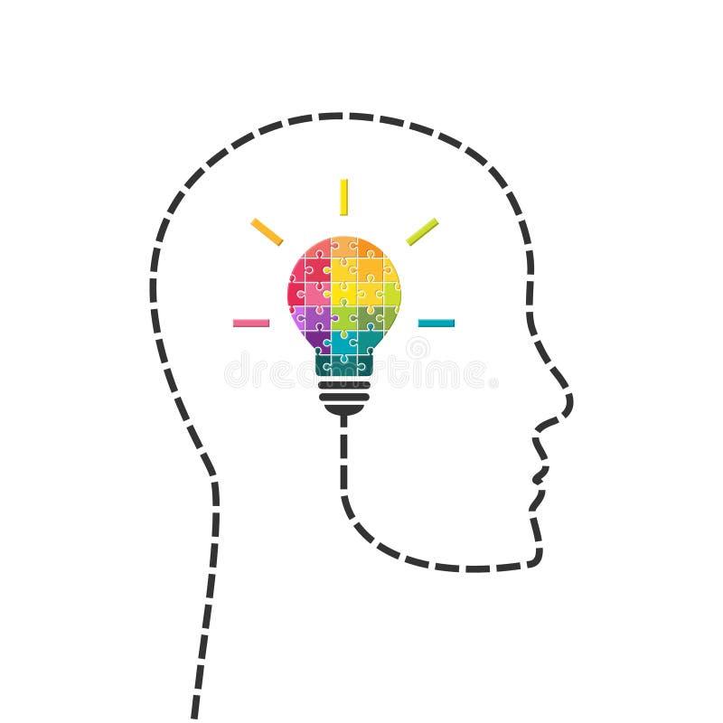 Creativiteit en innovatieconcept met lightbulb van raadsel wordt gemaakt dat stock illustratie