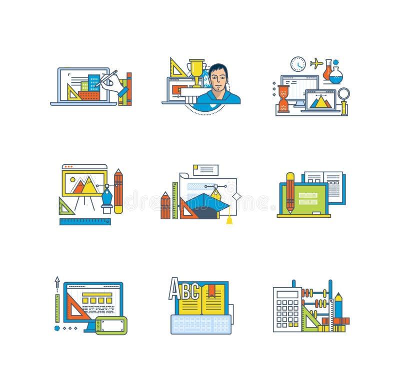 Creativiteit, grafisch ontwerp, onderwijs en wetenschappelijk onderzoek, afstandsonderwijs, leerplan royalty-vrije illustratie