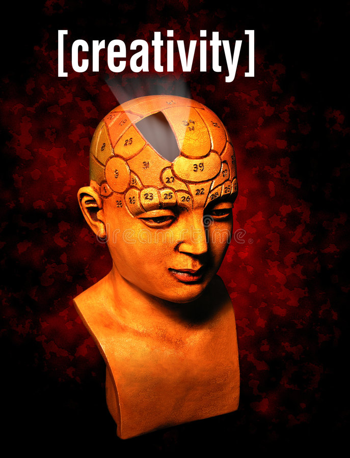 Creativity. A psychology model highlighting the creativity area of the brain stock photography