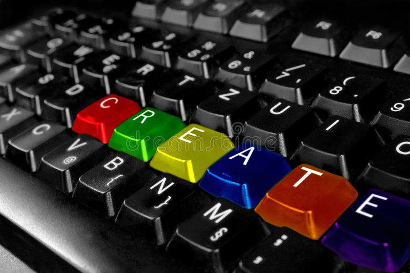Creativity. A coloured computer keyboard with the word create spelled on its keys - representing computer skills and creativity