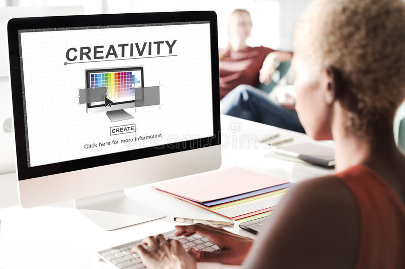 Creativity Ability Ideas Imagination Innovation Concept. African businesswoman using computer creativity ability ideas imagination innovation stock photos