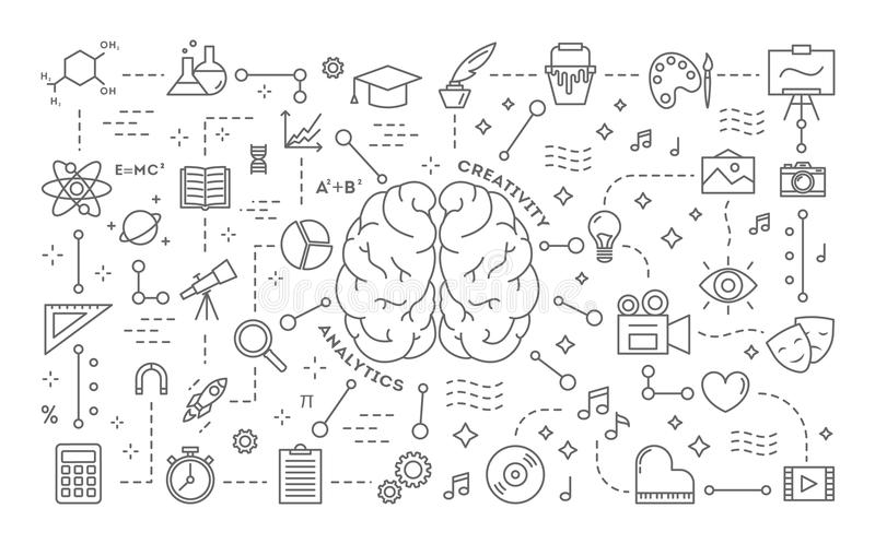 Creativity and analytics. Line illustration of brain and icons stock illustration