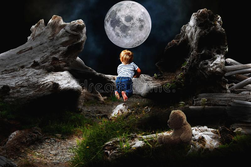 Creativity Begins with Tiny Little Hit of Curiosity. The boy who is observing moon is designed for culture of creativity which always begins with young curiosity royalty free illustration