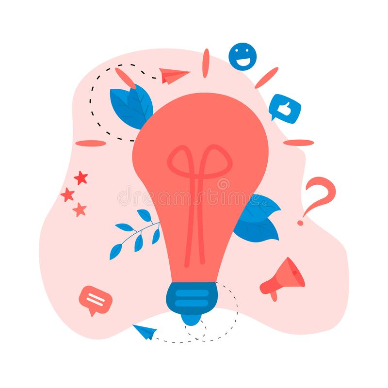 Creativity business idea concepts with big bulb. Vector illustration royalty free illustration