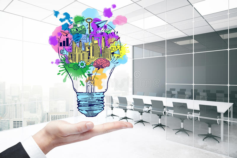 Creativity concept. Close up of businessman`s hand holding abstract lamp with business sketch in modern meeting room interior with city view. Creativity concept stock illustration
