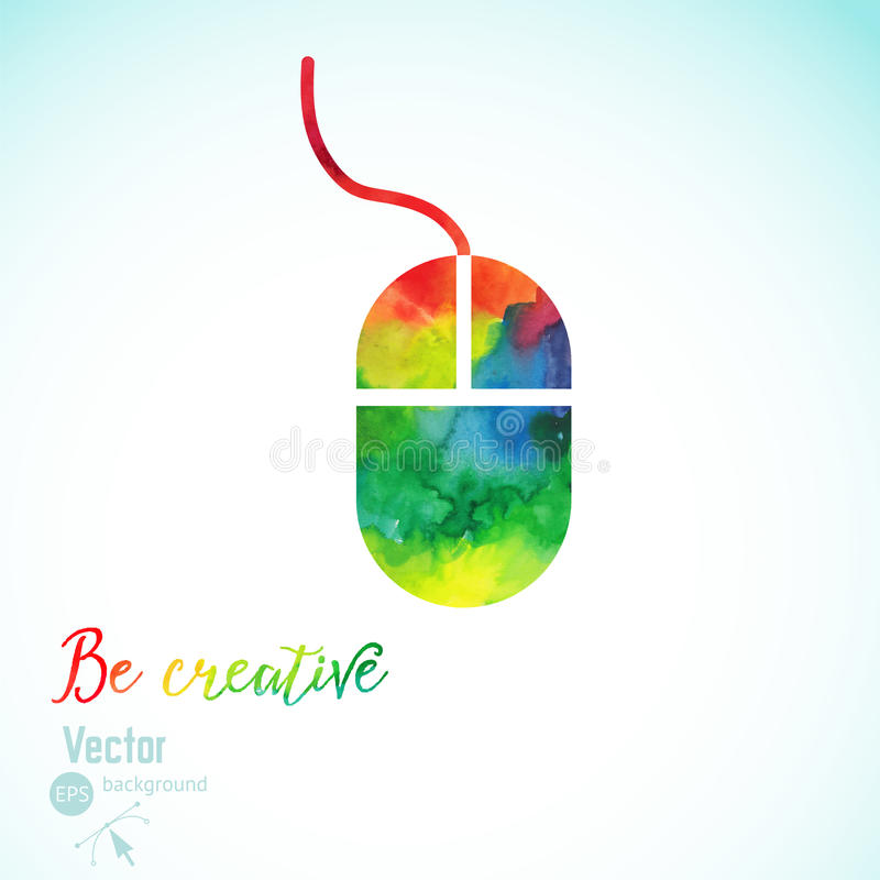 Creativity concept with colorful mouse. Artist at work. Symbol of visual art. Vector illustration. Watercolor silhouette of vector illustration