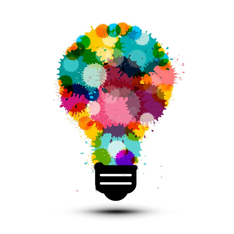 Creativity Concept with Colorful Splashes in Bulb. Vector Lightbulb Symbol stock illustration