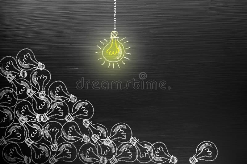 Creativity concept for good ideas on blackboard inspiration concept. royalty free stock photo