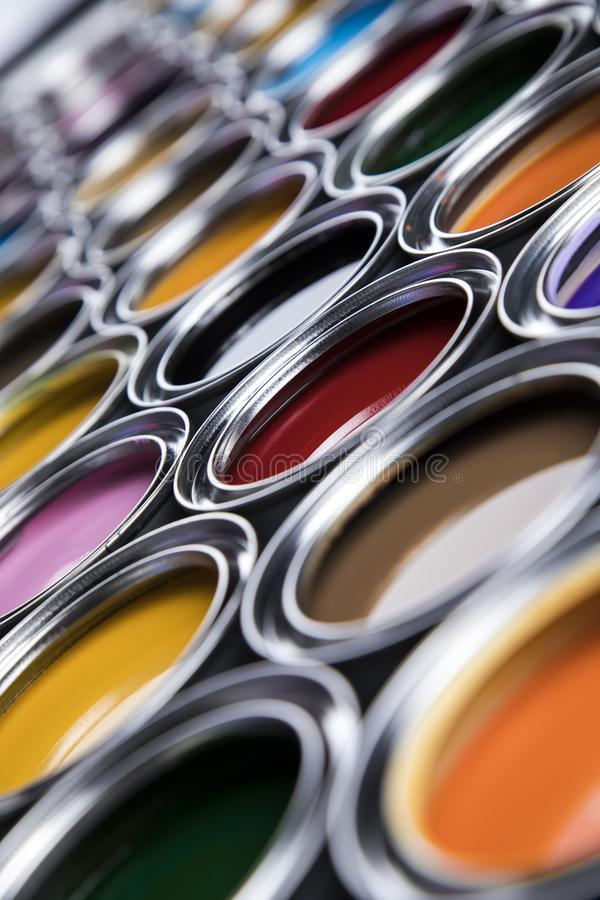 Creativity concept group of tin metal cans with color paint. Rainbow, tin metal cans with color paint stock image