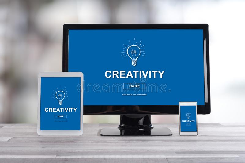 Creativity concept on different devices. Creativity concept shown on different information technology devices royalty free stock images