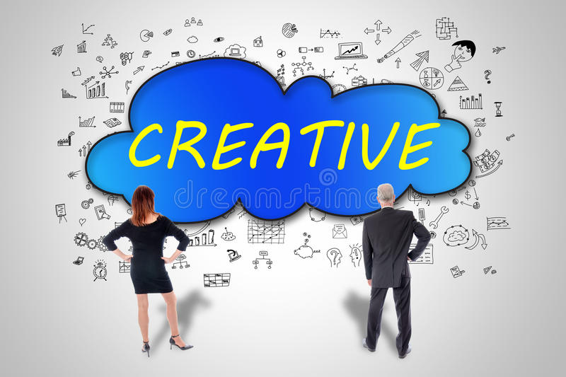 Creativity concept watched by business people stock photography