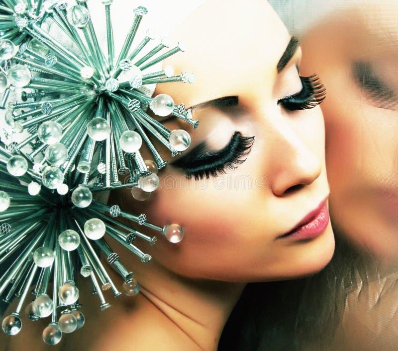 Creativity. Fashion Style. Woman With Metallic Nails Stock Image