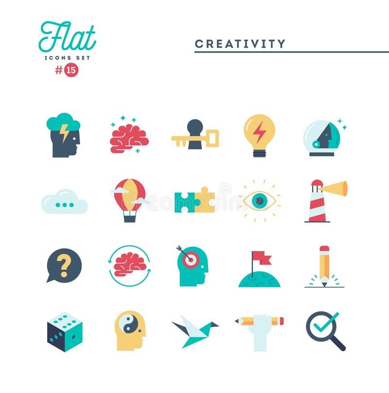 Creativity, imagination, problem solving, mind power and more, f. Lat icons set, vector illustration stock illustration