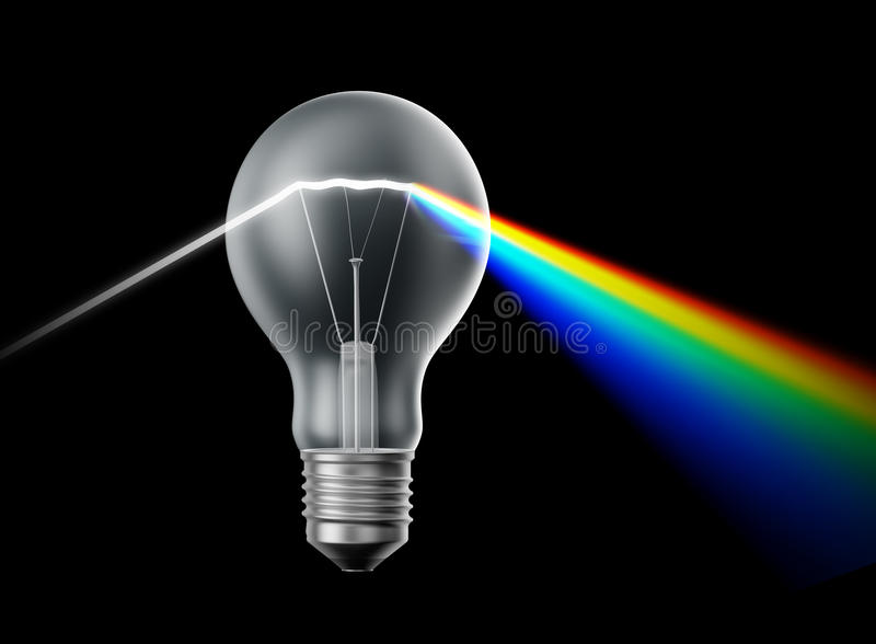 Creativity And Innovation Concept - Bulb Prism Stock Images